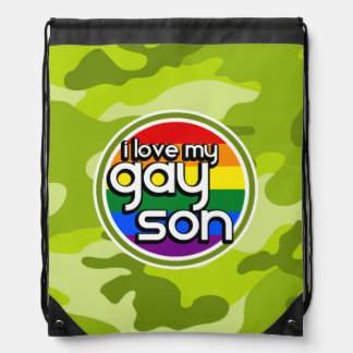 Gay Son bright green camo camouflage Backpack