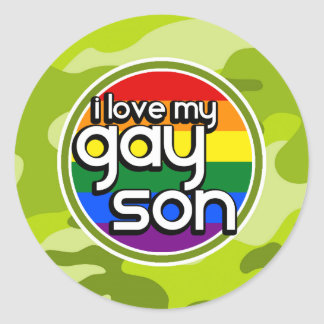 Gay Son; bright green camo, camouflage Stickers