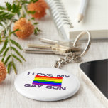 Gay Support l love my gay son rainbow flag Keychain