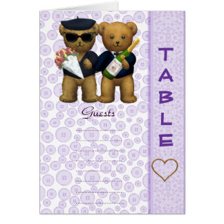 Gay Table number Blank Lilac Teddy bear wedding Greeting Card