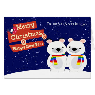 Gay Themed Christmas Polar Bears Personalized Card