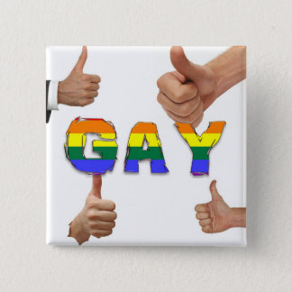 Gay Thumbs Up 15 Cm Square Badge