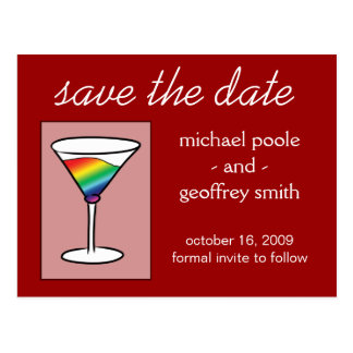 Gay-tini | Save the Date Postcard