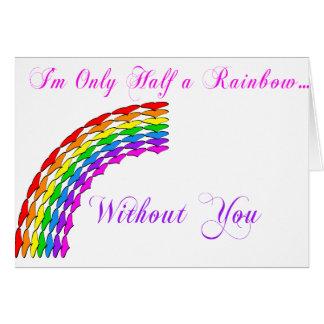 Gay Valentine Half Rainbow right Greeting Card