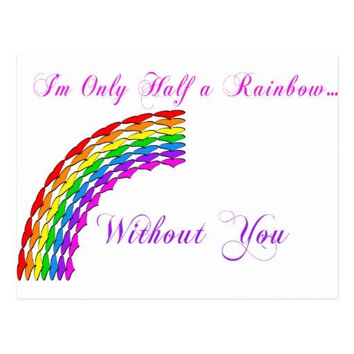 Gay Valentine Half Rainbow right Post Cards