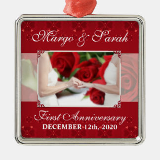 Gay Wedding 1st Anniversary Red Roses Christmas Ornament