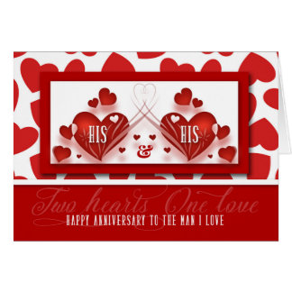 Gay Wedding Anniversary for Life Partner Red Heart Greeting Card