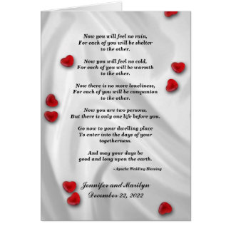 Gay Wedding, Apache Blessing Greeting Card