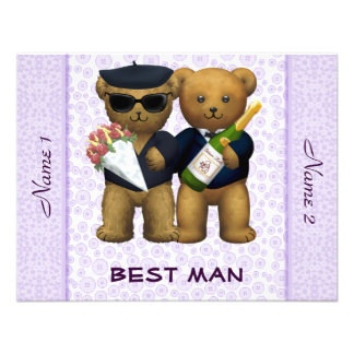 Gay Wedding - Best Man - Teddy Bears lilac Personalized Announcements