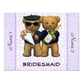 Gay Wedding - Bridesmaid  - Teddy Bears lilac 11 Cm X 14 Cm Invitation Card