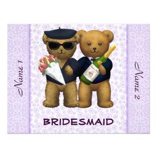 Gay Wedding - Bridesmaid - Teddy Bears lilac Announcements