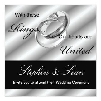 """Gay Wedding Ceremony Invitation announcement 5.25"""" Square Invitation Card"""
