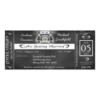"Gay Wedding Chalkboard Ticket Style Invitation 4"" X 9.25"" Invitation Card"