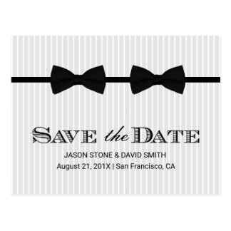 Gay Wedding Double Bow Ties Save the Date Postcard