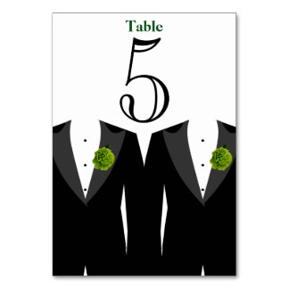 Gay Wedding Green Carnation Table Number Card