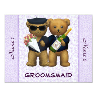 Gay Wedding - Groomsmaid - Teddy Bears lilac 11 Cm X 14 Cm Invitation Card