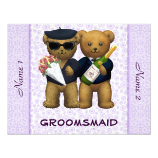 Gay Wedding - Groomsmaid - Teddy Bears lilac Personalized Invite