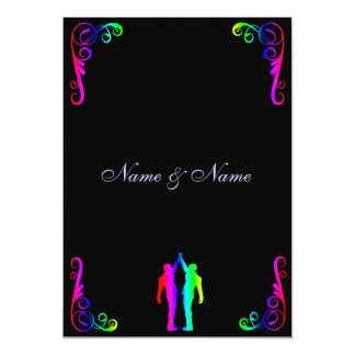 Gay Wedding Invitation - Rainbow Groom and Groom