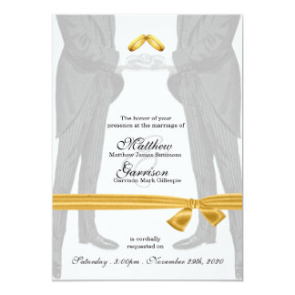 "Gay Wedding Invitation Two Grooms Vintage 5"" X 7"" Invitation Card"
