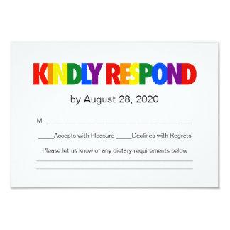 Gay Wedding Menu    Rainbow Flag Card