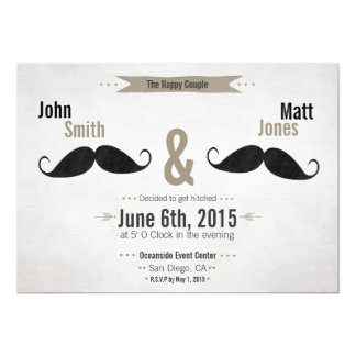 Gay Wedding Moustache Invitation