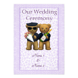Gay Wedding Order of Service Teddy Bears couple Personalized Invites