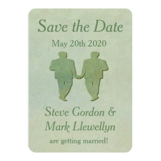 Gay Wedding Save the Date Card - Mint Rustic