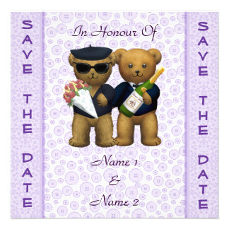 Gay Wedding - Save the Date - Lilac Teddy Bears Custom Invitations