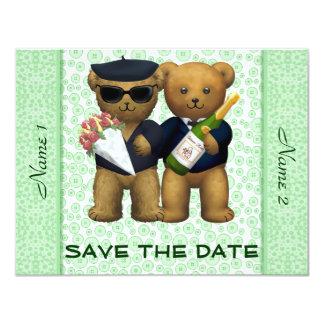 Gay Wedding - Save the Date - Teddy Bears Apple 11 Cm X 14 Cm Invitation Card