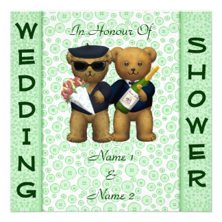 Gay Wedding shower Apple Teddy Bears invitation