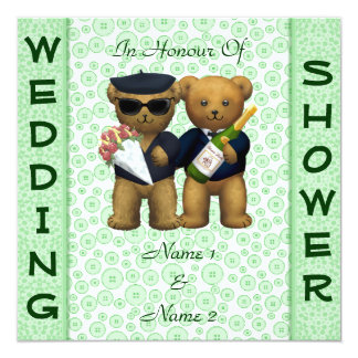 Gay Wedding shower Apple Teddy Bears invitation