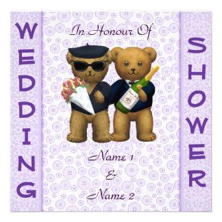 Gay Wedding shower lilac Teddy Bears invitation
