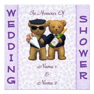 "Gay Wedding shower lilac Teddy Bears invitation 5.25"" Square Invitation Card"