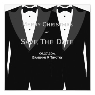 Gay Wedding Silver Save The Date Christmas Cards