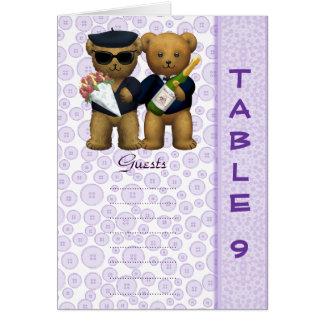 Gay wedding Table 9 number Lilac Teddy bear peom Greeting Card