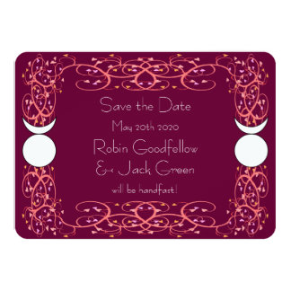 Gay Wiccan Wedding Red Save the Date Card 11 Cm X 16 Cm Invitation Card