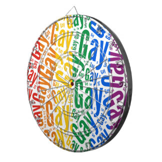 GAY WORD PATTERN COLOR DARTBOARD WITH DARTS