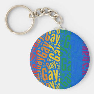 GAY WORD PATTERN COLOR -.png Basic Round Button Key Ring