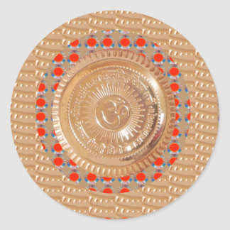 GAYATRI Mantra n OmMantra Symbol Embossed GOLD Classic Round Sticker