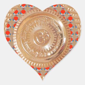 GAYATRI Mantra n OmMantra Symbol Embossed GOLD Heart Sticker
