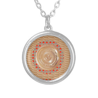 GAYATRI Mantra n OmMantra Symbol Embossed GOLD Silver Plated Necklace