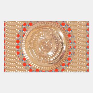 GAYATRI Mantra n OmMantra Symbol Embossed GOLD Rectangle Stickers