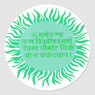 Gayatri Mantra Round Sticker