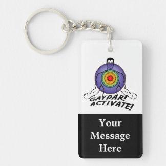 Gaydar! Activate! Rainbow Gay Double-Sided Rectangular Acrylic Keychain