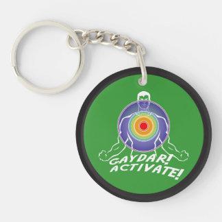 Gaydar! Activate! Rainbow Gay Double-Sided Round Acrylic Keychain