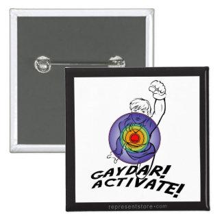 Gaydar! Activate! Rainbow Lesbian 15 Cm Square Badge