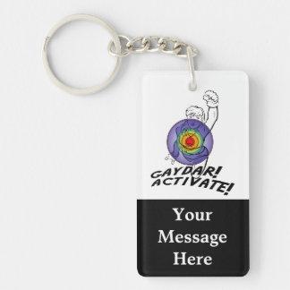 Gaydar! Activate! Rainbow Lesbian Double-Sided Rectangular Acrylic Keychain