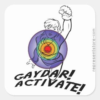 Gaydar! Activate! Rainbow Lesbian Square Sticker