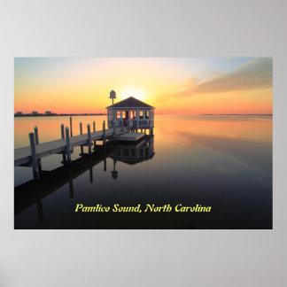 Gazebo Pier at Sunset Poster