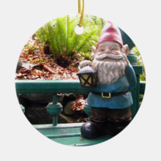 Gazeebo Gnome Round Ceramic Decoration